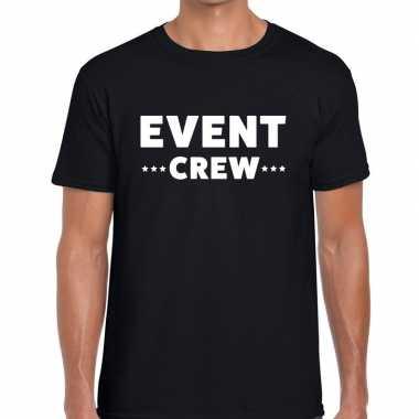 Event crew / personeel tekst t shirt zwart heren