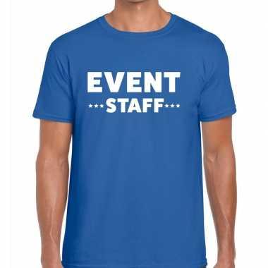 Event staff / personeel tekst t shirt blauw heren