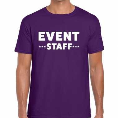 Event staff / personeel tekst t shirt paars heren