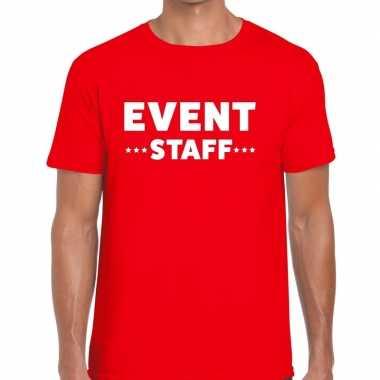 Event staff / personeel tekst t shirt rood heren