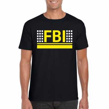 Fbi logo t shirt zwart heren
