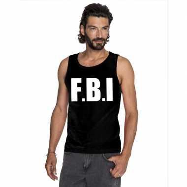 Fbi tekst singlet-shirt tanktop zwart heren