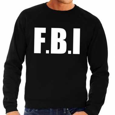 Fbi tekst sweater / trui zwart heren shirt