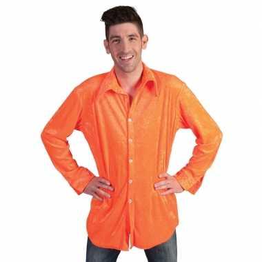 Fluwelen oranje overhemd heren shirt