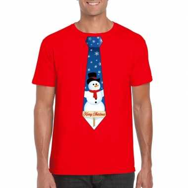 Fout kerst t shirt rood sneeuwpop stropdas heren