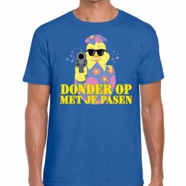 Fout paas t-shirt blauw donder je pasen heren