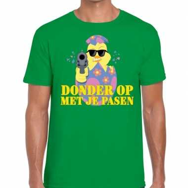 Fout paas t-shirt groen donder je pasen heren
