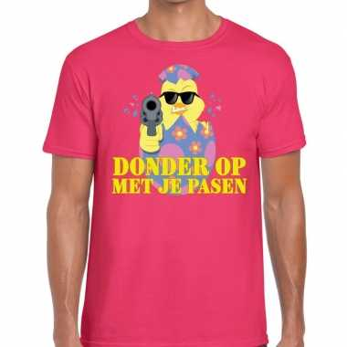 Fout paas t-shirt roze donder je pasen heren