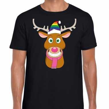 Foute kerst t shirt gay rudolf rendier zwart heren
