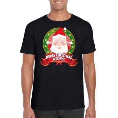 Foute kerst t-shirt merry christmas bitches heren 10125365