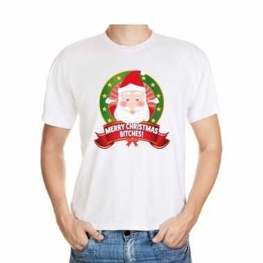 Foute kerst t shirt merry christmas bitches heren