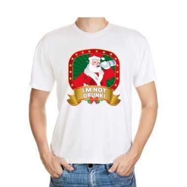 Foute kerst t shirt wit im not drunk heren