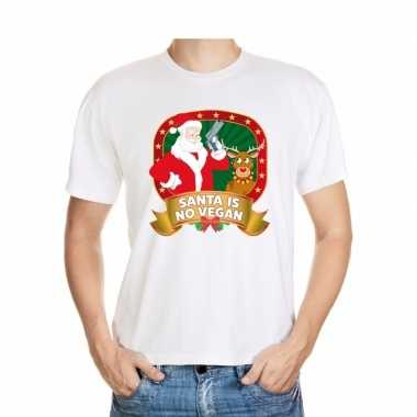 Foute kerst t shirt wit santa is no vegan heren