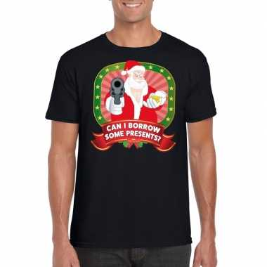 Foute kerst t-shirt zwart can i borrow some presents heren