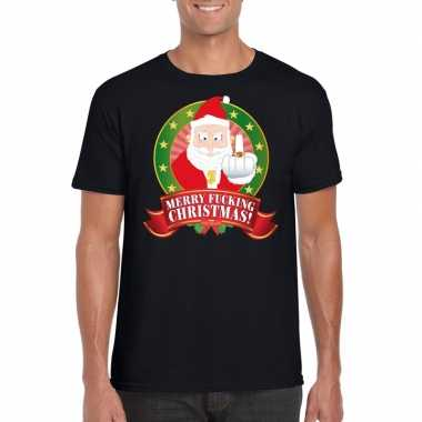 Foute kerst t-shirt zwart merry fucking christmas heren