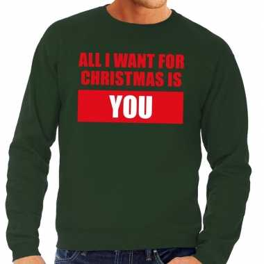 Foute kersttrui all i want for christmas is you groen heren shirt