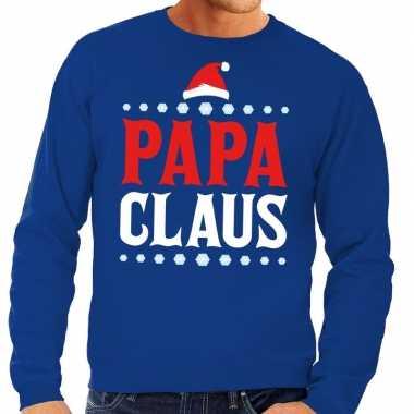 Foute kersttrui blauw papa claus heren shirt