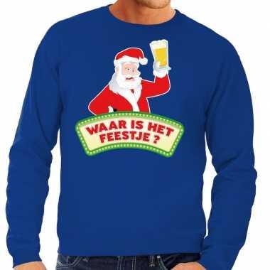 Foute kersttrui blauw waar is feestje heren shirt