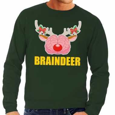 Foute kersttrui braindeer groen heren shirt
