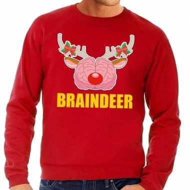 Foute kersttrui braindeer rood heren shirt