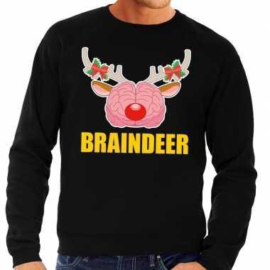 Foute kersttrui braindeer zwart heren shirt