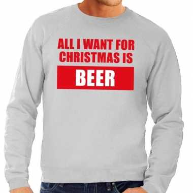 Foute kersttrui christmas beer grijs heren shirt
