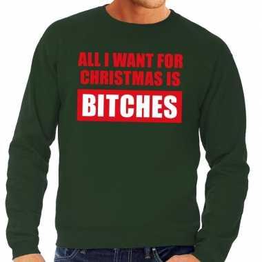 Foute kersttrui christmas bitches groen heren shirt