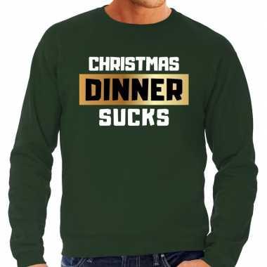 Foute kersttrui christmas dinner sucks groen heren shirt