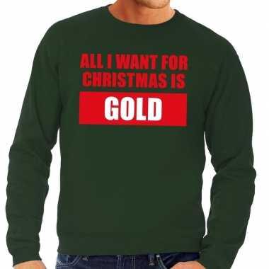 Foute kersttrui christmas gold groen heren shirt