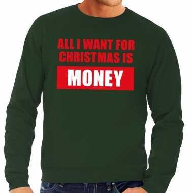Foute kersttrui christmas money groen heren shirt
