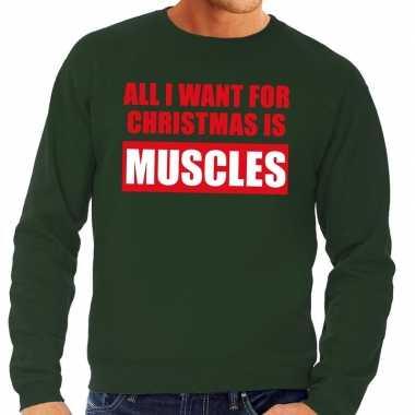 Foute kersttrui christmas muscles groen heren shirt