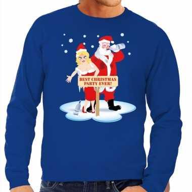 Foute kersttrui dronken kerstman kerstvrouw blauw heren shirt