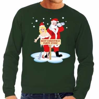 Foute kersttrui dronken kerstman kerstvrouw groen heren shirt