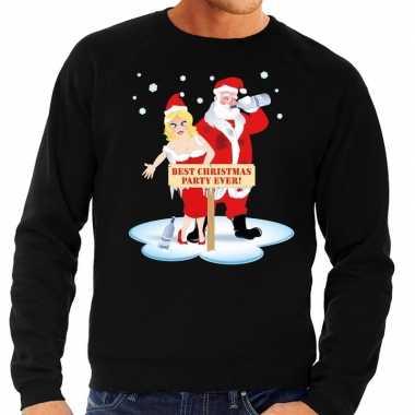 Foute kersttrui dronken kerstman kerstvrouw zwart heren shirt