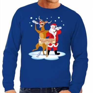 Foute kersttrui dronken kerstman rendier rudolf blauw heren shirt