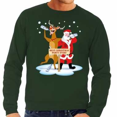 Foute kersttrui dronken kerstman rendier rudolf groen heren shirt