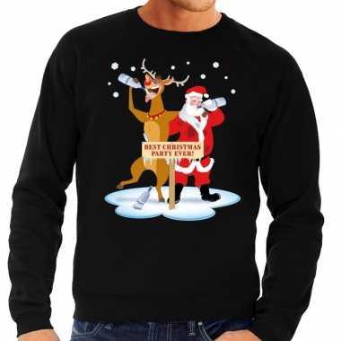 Foute kersttrui dronken kerstman rendier rudolf zwart heren shirt