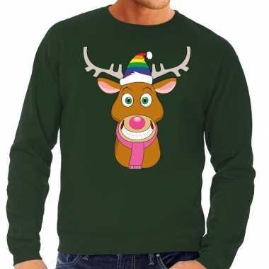 Foute kersttrui gay rudolf rendier groen heren shirt