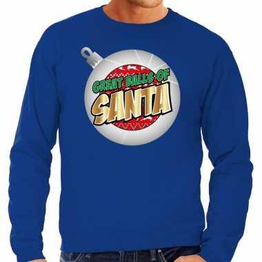 Foute kersttrui great balls of santa blauw heren shirt