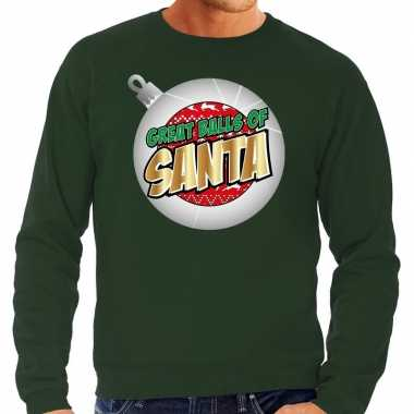 Foute kersttrui great balls of santa groen heren shirt
