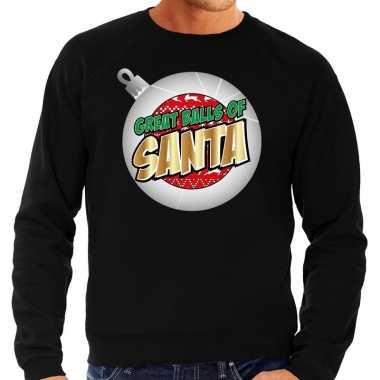 Foute kersttrui great balls of santa zwart heren shirt