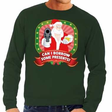 Foute kersttrui groen can i borrow some presents heren shirt