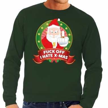 Foute kersttrui groen fuck off i hate x mas middelvinger heren shirt