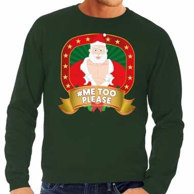 Foute kersttrui groen hashtag me too please heren shirt