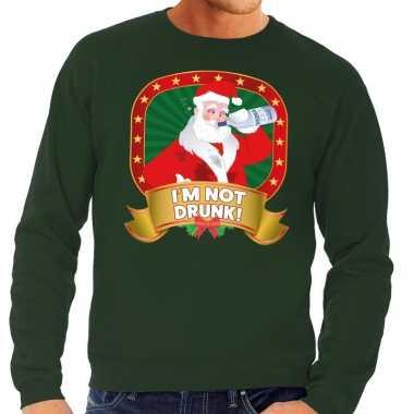 Foute kersttrui groen im not drunk heren shirt