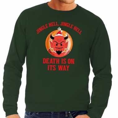 Foute kersttrui groen jingle hell heren shirt