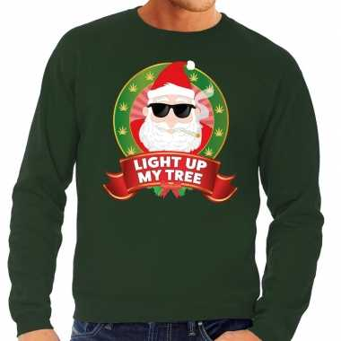 Foute kersttrui groen light up my tree heren shirt
