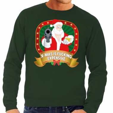 Foute kersttrui groen x mas is fucking expensive heren shirt