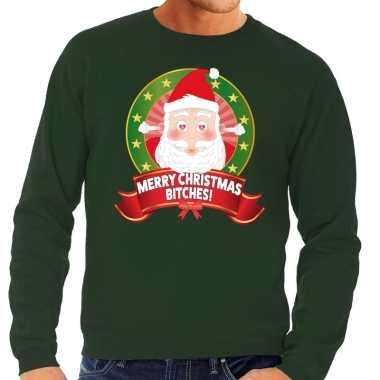 Foute kersttrui groen merry christmas bitches heren shirt