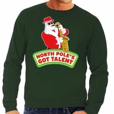 Foute kersttrui groen north poles got talent heren shirt